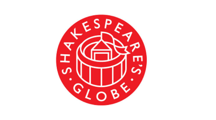 Shakespeare's Globe logo in red and white